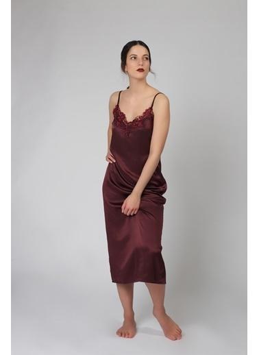 Hays Glamour Saten Kadın Dantel Detaylı İp Askılı Uzun Gecelik Bordo